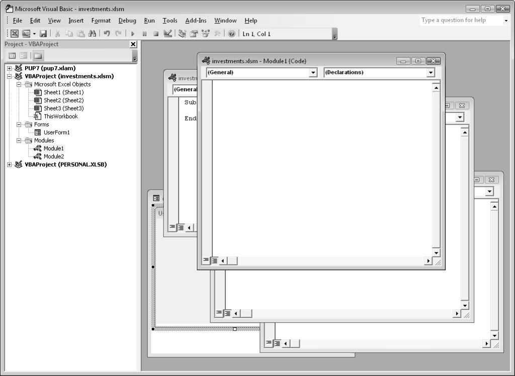 Excel vba programming pdf chapter 3 working in the visual basic editor 43 figure 3 3 code fandeluxe Gallery