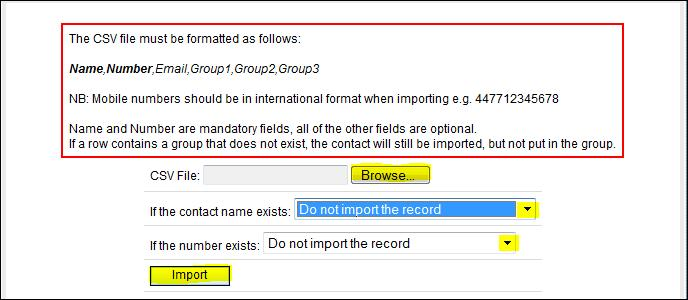 csv format (comma delimited) and mobile numbers must be in international format, i.