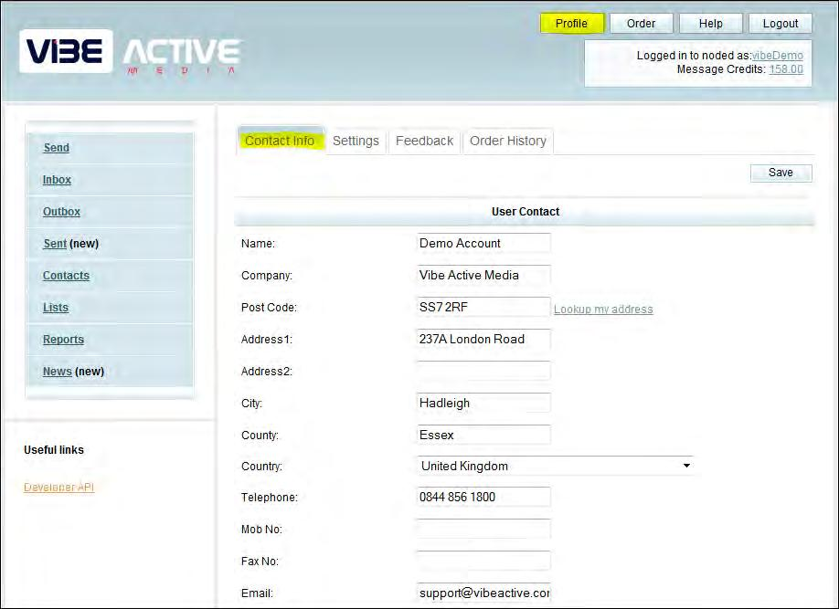 2. Set Up Your User Profile 2.1 Profile The Profile section holds your account details and contact information.