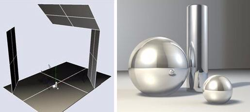 In the following images we see the original object with a chrome material applied. When rendered, it only reflects the black background, therefore it doesn t look like chrome.