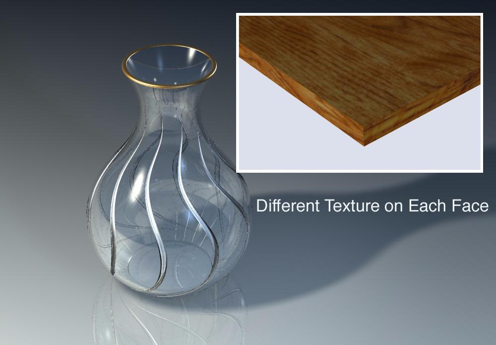 Photo-realism Fundamentals Use Surfaces for More Texturing Control Sometimes different materials need to be applied to the same object. To obtain this do one of the following: 1.