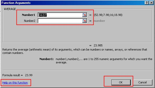 Select your function and press OK. The Functions Arguments dialog box appears.