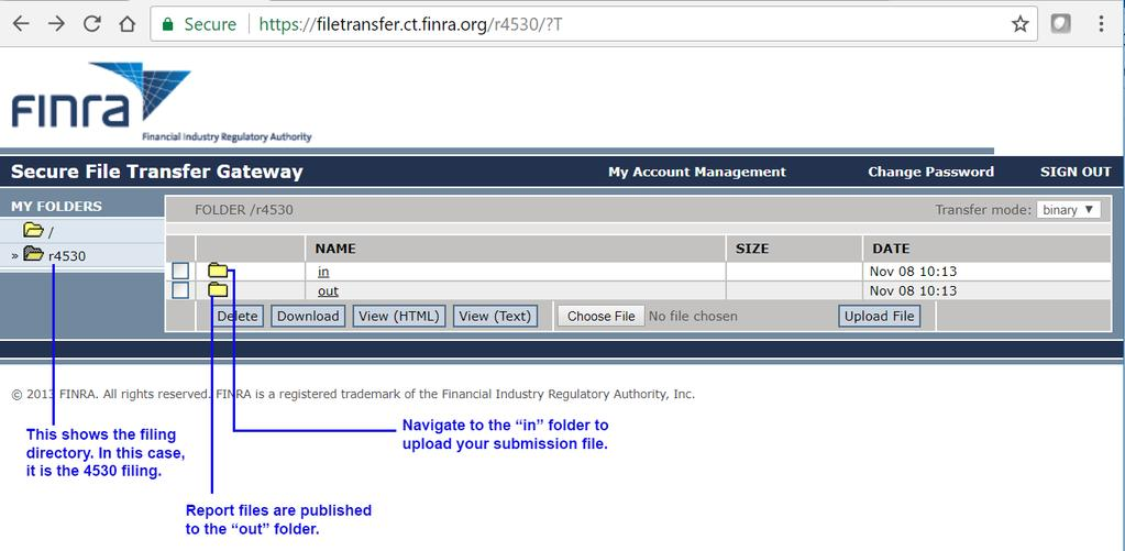 The ut flder is where yu will find submissins reprts/results file that are generated by the FINRA ingest
