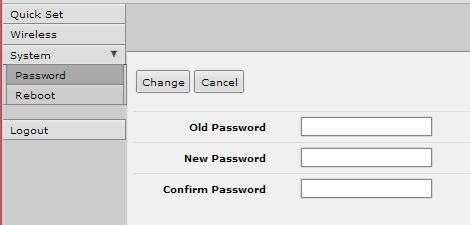 2. Setting the User Password: On the Main Menu at the left side of the browser window, click System, then click Password. Enter the old password and the new password twice in the boxes indicated.
