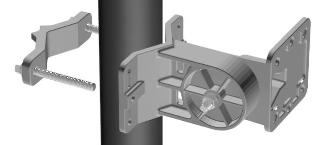 Assemble both bracket arms using the Rotator Bolt, a Large Lock Washer and the Hex Nut. Leave the bracket loose enough to rotate. B. Use one of the following methods, or other methods necessary to seccure the bracket.
