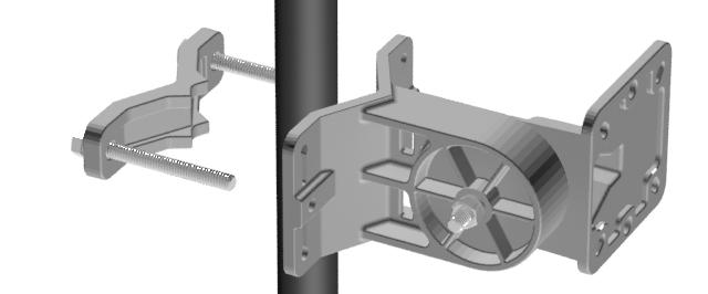 Use the two Clamp Bolts to bind the bar and bracket to the pole. Use Large Washers and Lock Washers if needed. Leave the clamp loose enough to rotate.