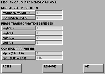 20 Description of the New Functionalities Material Models Figure 20: Shape Memory Material Menus: (a) Thermo-mechanical Shape Memory Model (b) Mechanical Shape Memory Model The dilatational