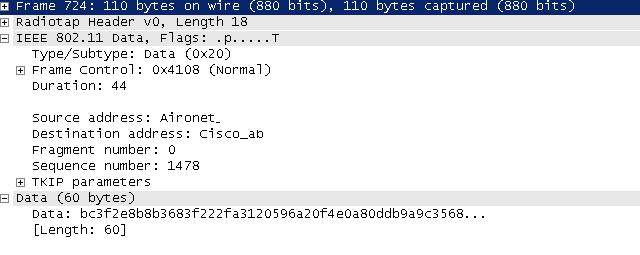 Image: You can see the TKIP Parameters, and the data is in cipher text. 802.