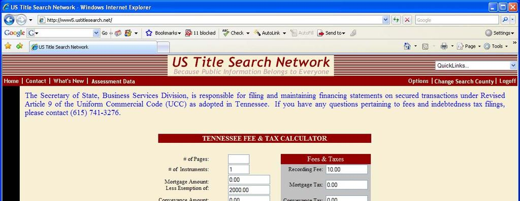 FEE CALCULATOR If you select the Fee Calculator tab, the following Tennessee fee and tax calculator will display for