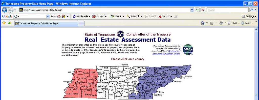 ASSESSMENT DATA If you select the Assessment Data tab, you will be directed to the