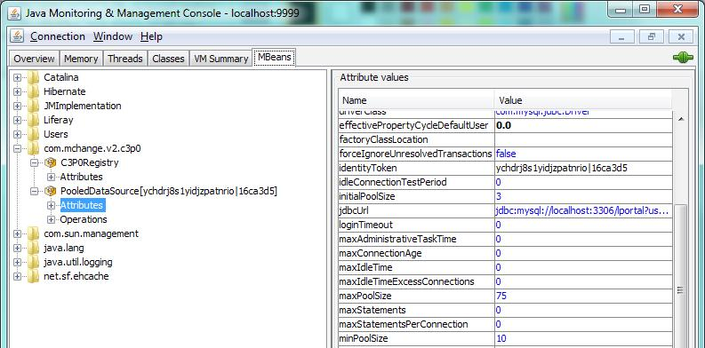 Load Testing and Performance Tuning 4. Then, select the Attributes subnode. The system will display the database connection pool attributes as shown in the following screenshot.