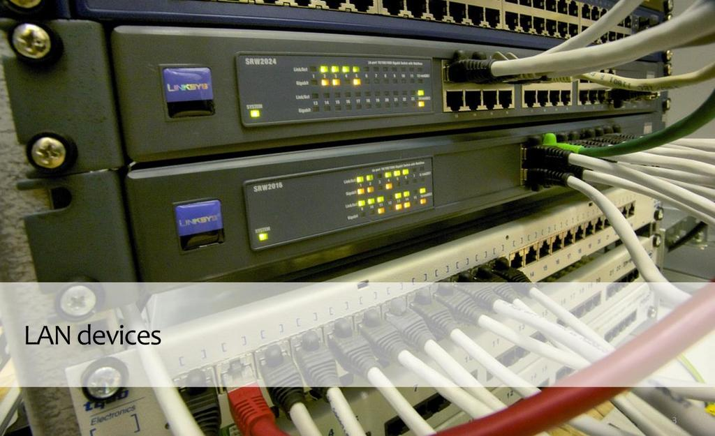 The typical networking hardware for a local area network includes gateways, routers, network bridges, switches, hubs, and repeaters.