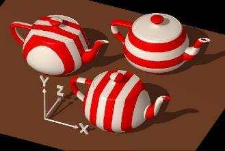 3D TEXTURE MAPPING The stripes on the left teapot are generated with a simple function.
