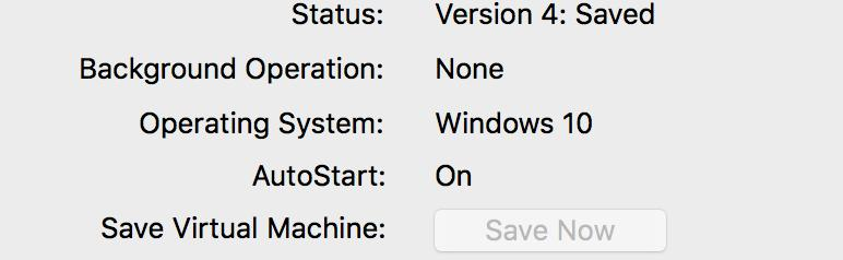 After the state of a VM is saved, the Save button grays out.