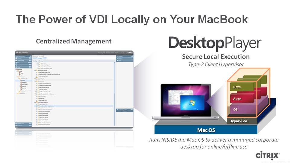 The image below illustrates these components: DesktopPlayer for Mac DesktopPlayer is installed on individual Mac computers, and provides a virtualized platform to run each Windows VM image.