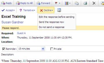 MANAGING RESPONSES The invitee will receive an email and will be asked to respond by clicking on the buttons at the top of the email.
