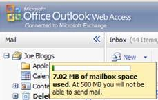 MANAGING YOUR MAIL QUOTA To see your current email quota, hover your cursor over your mailbox name To reduce quota, you should delete items and empty the deleted items folder.