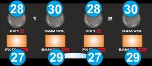 E. EFFECTS & SAMPLER Effects MD1310 LE Skin Effects & Sampler MD1310 Sampler MD1310 LE Skin 27. FX.ON. Use these buttons to enable/disable the selected Effect on the left or right deck.