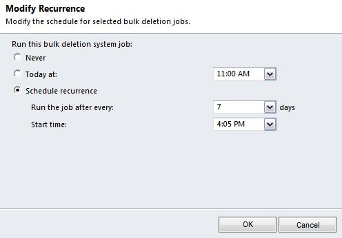 6. In the Mdify Recurrence pp-up windw, mdify the settings as desired. Never This bulk deletin system jb will nt be used.