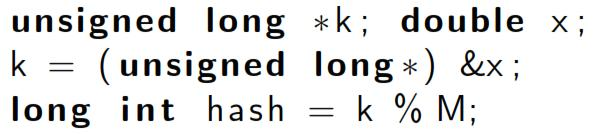 6 Hashing Functions we can also use the hash function below for floating point numbers if we interpret the bits as an h k = k %