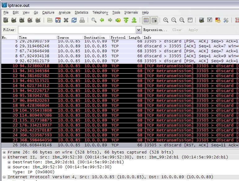 Figure 4-18 shows a TCP retransmission example using Wireshark. Note that data is collected when the timer wheel algorithm is enabled, which will be introduced later.