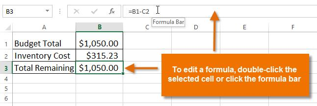 To edit a formula: Sometimes you may want to modify an existing formula. In the example below, we've entered an incorrect cell address in our formula, so we'll need to correct it. 1.