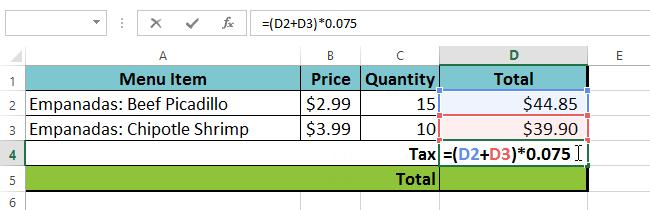 The spreadsheet then follows the order of operations and first adds the values inside the parentheses: (44.85+39.90) = $84.75.