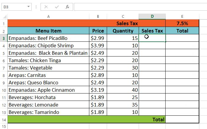 To create and copy a formula using absolute references: In our example, we'll use the 7.5% sales tax rate in cell E1 to calculate the sales tax for all items in column D.