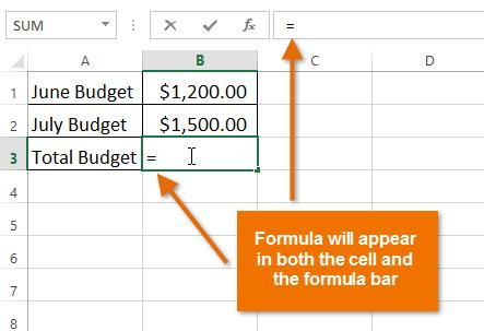 1. Select the cell that will contain the formula. In our example, we'll select cell B3. 2. Type the equals sign (=). Notice how it appears in both the cell and the formula bar. 3.