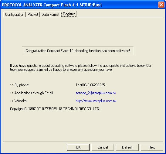 Compact Flash 4.1 Register Dialog Box There is written Zeroplus company information.