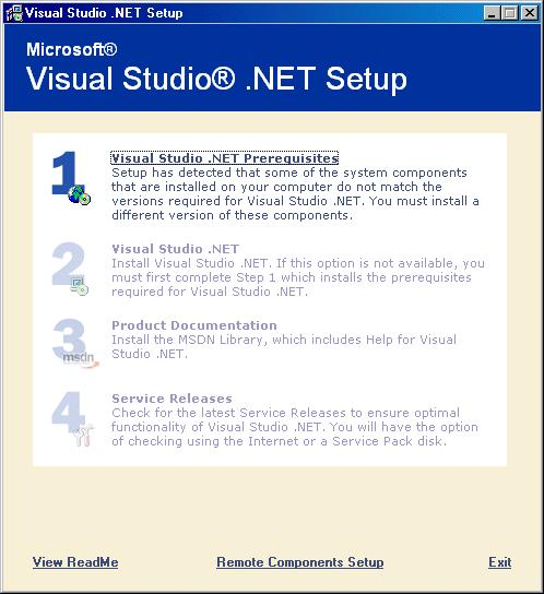 Figure 6-4 Visual Studio.NET Setup You are prompted to insert the Microsoft Visual Studio.NET Prerequisites CD.
