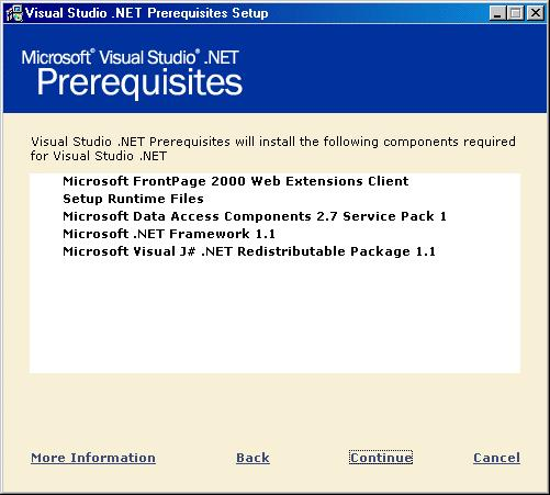 The Microsoft Visual Studio.NET Prerequisites window is displayed listing all the components to be installed.
