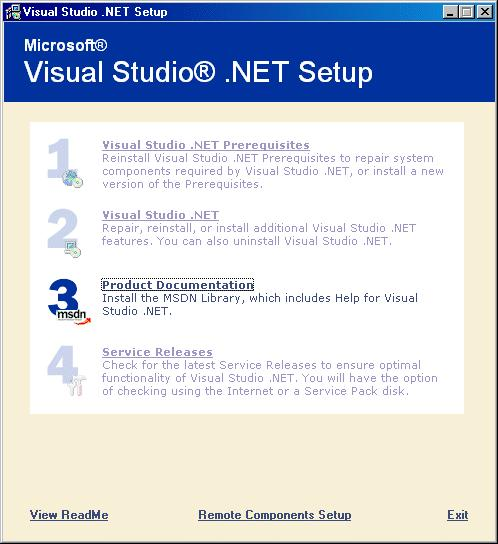 On completion of the installation, the Microsoft Visual Studio.NET Setup window is again displayed.