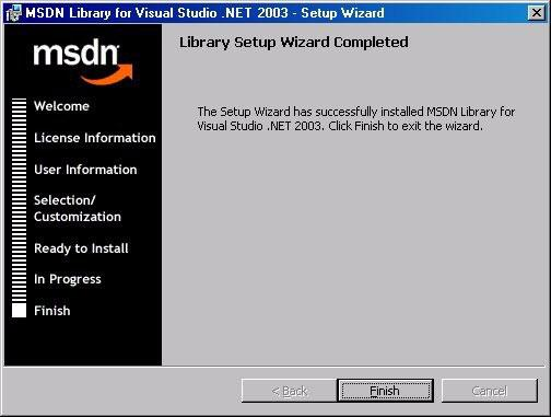 On the MSDN Library for Microsoft Visual Studio.NET finish window, select Finish. Figure 6-21 MSDN Library for Microsoft Visual Studio.