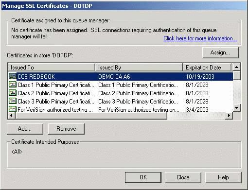 Figure 12-13 Certificate added 4. Now, select the certificate from the certificate list and click Assign in the window.