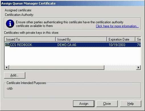 Figure 12-14 Assign queue manager certificate 6.