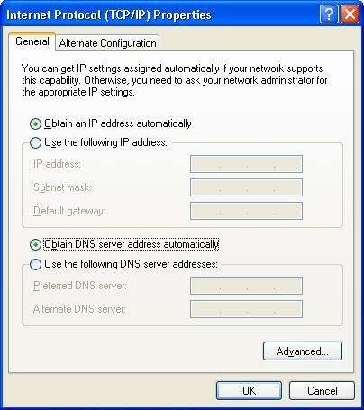 Installation and Connection 4. Select the Obtain an IP address automatically and Obtain DNS server address automatically radio buttons. Click the OK button. Figure 5.