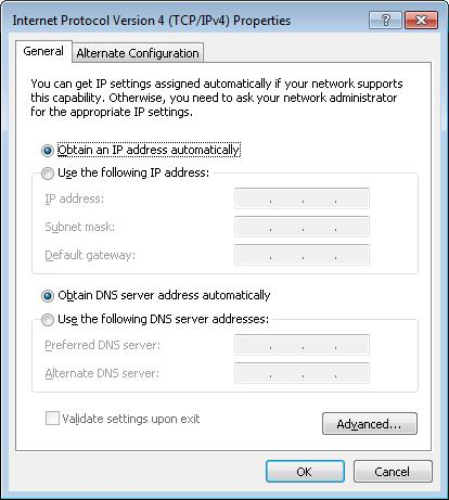 Installation and Connection 6. Select the Obtain an IP address automatically and Obtain DNS server address automatically radio buttons. Click the OK button. Figure 10.