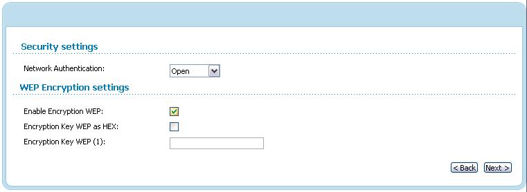 When the Open value is selected, the WEP Encryption settings section is displayed: Figure 52. The Open value is selected from the Network Authentication drop-down list.