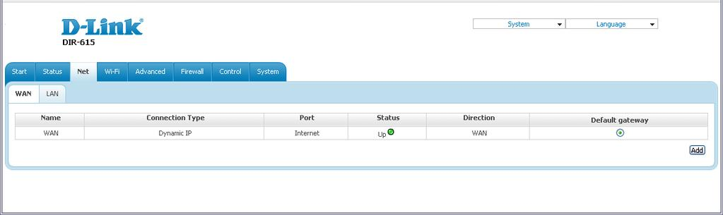 Net In this menu you can configure basic parameters of the router's local area network and configure connection to the Internet (a WAN connection).