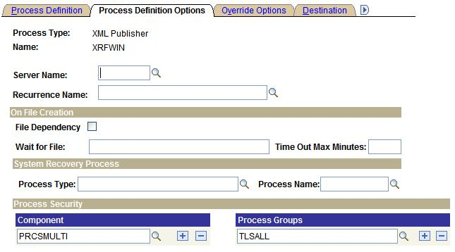 "Defining PeopleSoft Process Scheduler Support Information Chapter 6 See Also Appendix A, ""Using Process Request APIs,"" page 191 Setting Process Definition Options To access the Process Definition"