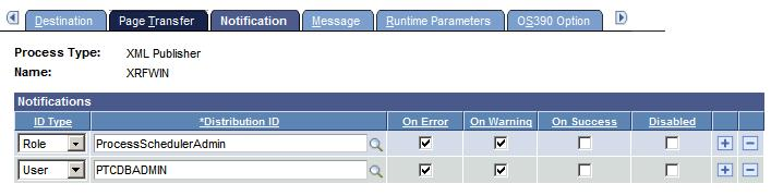 Chapter 6 Defining PeopleSoft Process Scheduler Support Information Notifications page Use the Notification page to send messages to a group (using a role ID) or individuals (using a user ID) when a