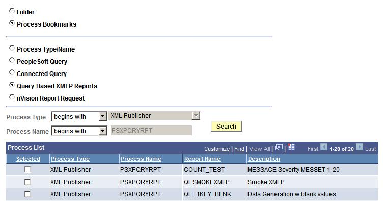 Using Reporting Console Chapter 7 3. Select the radio button for the type of report (PeopleSoft Query, Connected Query, Query-Based XMLP Reports or nvision Report Request).