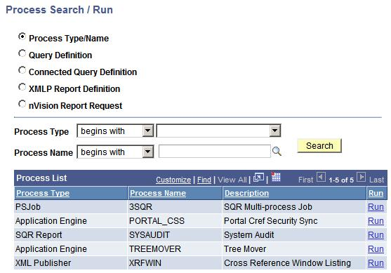 Using Reporting Console Chapter 7 Process Type Page Displayed Process Definition Process Definition Add page Job Definition Job Definition Add page Connected Query Connected Query Manager