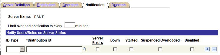 Setting Server Definitions Chapter 8 Notification page Use the Notification page to send messages to a group (role ID) or individuals (user ID) when an activity occurs with the server, such as an
