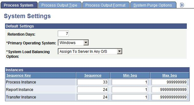 Defining PeopleSoft Process Scheduler Support Information Chapter 6 System Settings page Retention Days Enter the number of days before the files that are on the report repository are deleted.