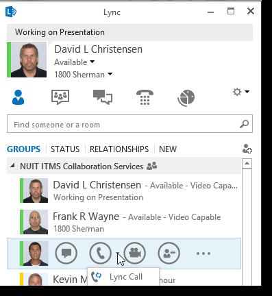 Lync Instant Messaging: Audio and Making a Call Dial by name from the