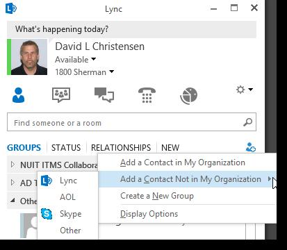 Lync Instant Messaging: External Contacts Federation allows NU users to collaborate externally Public IM Connectivity