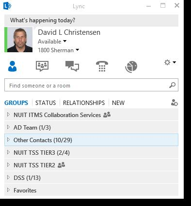 Lync User Interface: Managing Contacts View contacts by group, status, or relationship All
