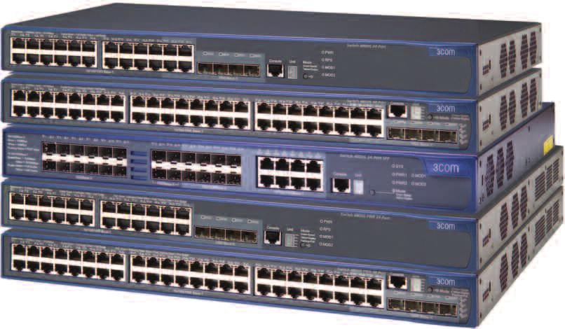 DATA SHEET SWitChinG 3COM SWITCH 4800G GIGABIT FAMILY Shown above from top: 3Com Switch 4800G 24-Port, Switch 4800G 48-Port, Switch 4800G 24-Port SFP, Switch 4800G PWR 24-Port, Switch 4800G PWR